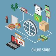 Isometric Shopping Concept - stock illustration