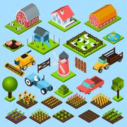 Farm isometric icons set - stock illustration