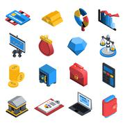 Stock Illustration of Financial Icons Isometric