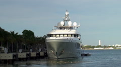 Luxury Charter yacht Mogambo is docked in Museum Park at Miami downtown. Stock Footage