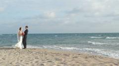 Sea Walk Wedding Stock Footage