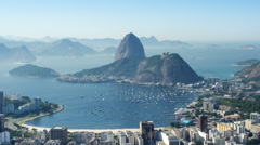 Timelapse View of Sugarloaf Mountain, Rio de Janeiro, Brazil - Zoom Out Stock Footage