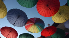 Many of the larger size hanging umbrellas Stock Footage