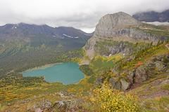 Looking Down at an Alpine Lake in the Fall Stock Photos