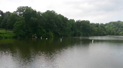 Lake Roland at Robert E. Lee Park in Baltimore, Maryland - stock footage