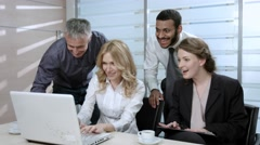 Young successful people. Gambling youth. Office employees at the computer. Stock Footage