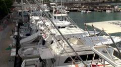 Yachts on the marina of Miami Bayside Marketplace. Stock Footage