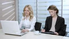Woman typing on the computer. Funny girl. Lady working in the office. Stock Footage