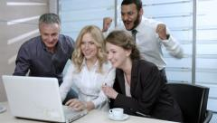 Woman rejoices with friends. Funny company. Clerk won the jackpot. Stock Footage
