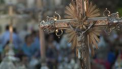 Jesus Ornament, Prayer ceremony in Portugal Stock Footage