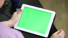 Gestures for the tablet and touchpad: hands swiping from left, greenscreen - stock footage