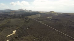 Aerial video footage of the Volcanic Landscape on the Island of Lanzarote - stock footage