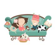 Happy kids sitting on the couch Stock Illustration