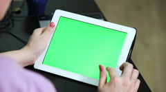 Gestures for the tablet and touchpad: hands swiping top from down, greenscreen  - stock footage