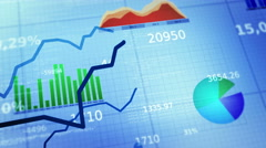 Colorful financial diagrams showing a growing tendency. White-Blue. Loopable. Stock Footage