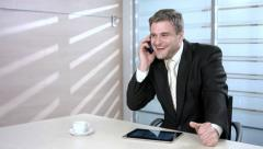 Businessman with a phone. Clerk speaking on the phone Stock Footage