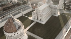 Aerial over Pisa Cathedral and Leaning Tower Stock Footage