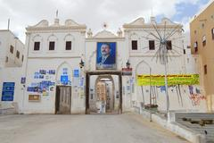 Political posters of Ali Abdullah Saleh, Shibam, Yemen. - stock photo