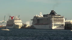 Cruise Liners docked in the port of Miami. Stock Footage