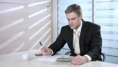 Businessman counting losses. Unsuccessful business. Man under stress. Stock Footage