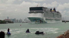 Norwegian Epic cruise ship leaves the port of Miami Stock Footage