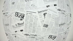 International world famous tabloids are on wall. Camera moves up Stock Footage