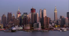The Midtown Manhattan skyline in the late afternoon Stock Footage
