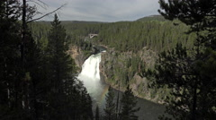 Upper Falls rainbow Yellowstone National Park forest 4K 020 Stock Footage