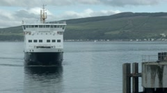 A Caledonian MacBrayne Ferry docking, Wemyss Bay, Scotland Stock Footage