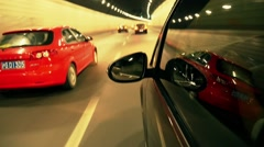 Time lapse of car moving fast in shanghai tunnel - stock footage