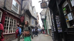York, England, 22 June, 2015, visitors walking along the old streets, HD footage Stock Footage