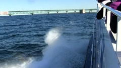 Boat Ride to Mackinac Bridge Stock Footage