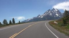 Grand Teton National Park mountain drive POV 4K Stock Footage
