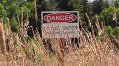 Helicopter Danger Sign Stock Footage