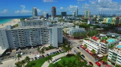 Aerial video Ocean Drive Miami Beach 6 Stock Footage