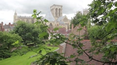 York Minster seen from the city wall, Yorkshire, England, UK, footage Stock Footage