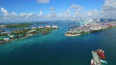 Aerial Miami Beach marina and Port Miami 4k 2 Stock Footage