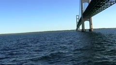 Under Mackinac bridge Stock Footage