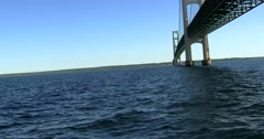 Under Mackinac Bridge (2K) Stock Footage