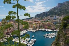 View to Fontvieille and Monaco Harbor in Monaco. - stock photo
