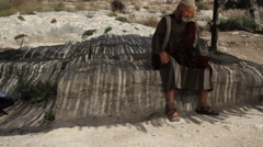 Stock Video Footage of Abraham and Sarah at a Well Biblical Reenactment