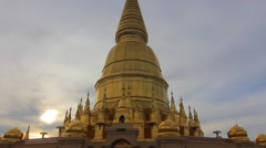 Buddhists old pagoda in the morning, Lamphun, Thailand. Stock Footage