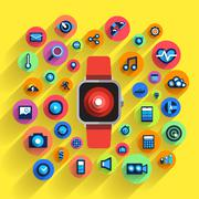 Wearable Device Icom - stock illustration