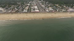 Front High to Low Beach Town Stock Footage