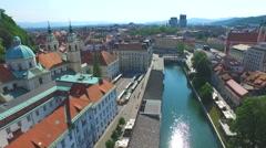 Aerial view of Ljubljana with beautiful river Ljubljanica Slovenia. Stock Footage
