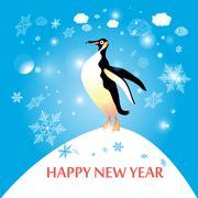 penguin winter - stock illustration