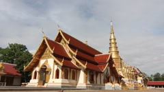 Old buddhism temple in Lamphun Thailand Stock Footage