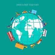 ride on globe - stock illustration