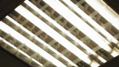 Fluorescent bulbs light up one by one, nervous handheld shot Stock Footage