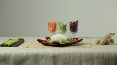 Fresh Prepared Vegetables on Table Stock Footage